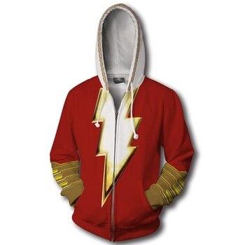 Superhero Captain Marvel Shazam Billy Batson 3D Print Hoodies Sweatshirts Cosplay Hooded Casual Coat Jacket