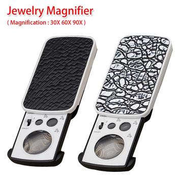 Lupa 30X 60X 90X do oceny jakości biżuterii czytanie lupy duże powiększenie wygląd akrylu lupa obiektywu z LED UV tanie i dobre opinie Inpelanyu Handheld JJ4805-01 Led light Black Silver