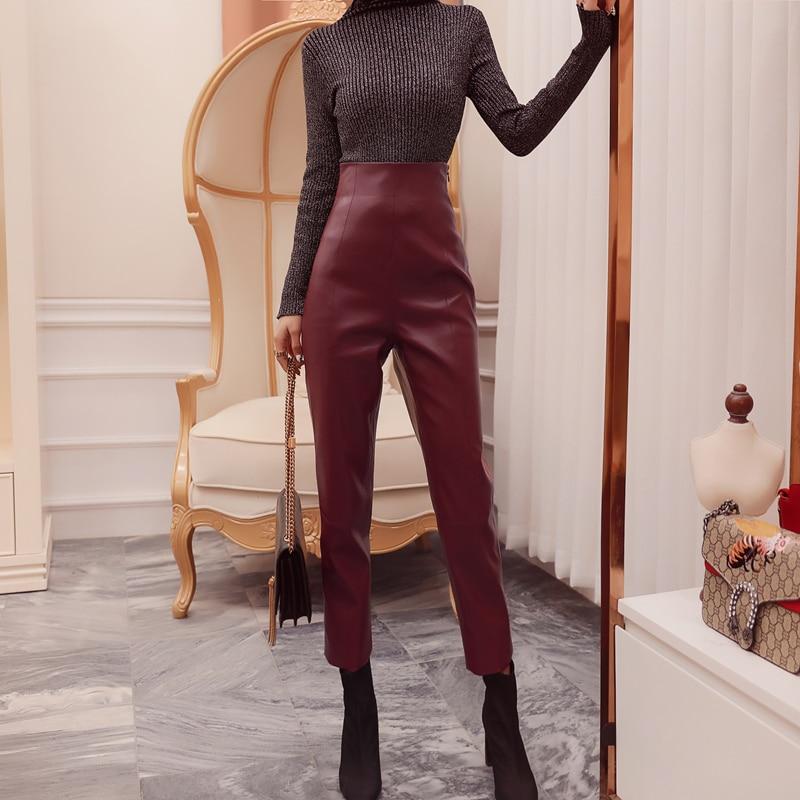 Fashion Autumn winter high waist PU leather pants women Slim Faux leather pants women capris trousers woman pants for women