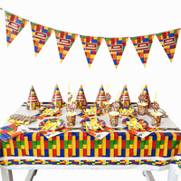93pcs/set Theme Party Disposable Tableware Blocks Paper Plate Cup Napkin Banner Tablecloth Kids Boy Happy Birthday Party Decor