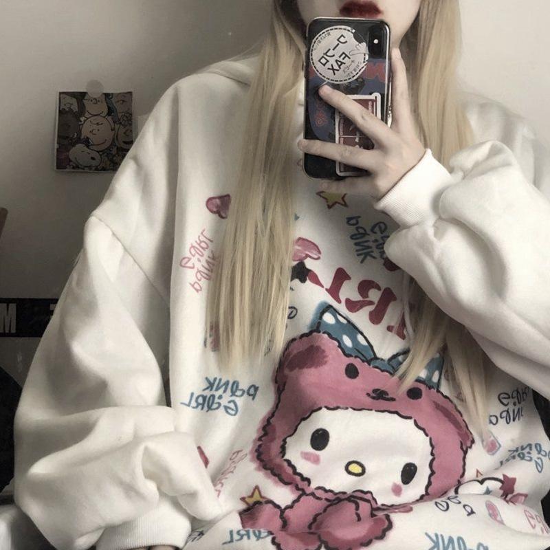 Anime Hoodie Women Autumn Kawaii Fashion Sweatshirt Women Korean Long Sleeve Print Tops Vintage Oversized Cute Hoodie 1
