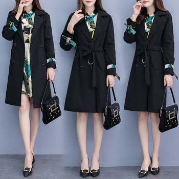 Plus Size Women Knee Length Dress Suits Sashes Double Breasted Long Blazer and Long Sleeve Dresses Work Ladies Office 2piece Set large size print plaid autumn winter dress women with sashes double button mini wrap dress women long sleeve office work dress
