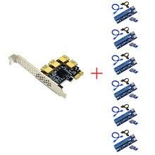 6 pces usb 3.0 pci-e express 1x a 16x adaptador de cartão de riser pcie 1 a 4 slot pcie porta cartão multiplicador para btc bitcoin mineiro mineração