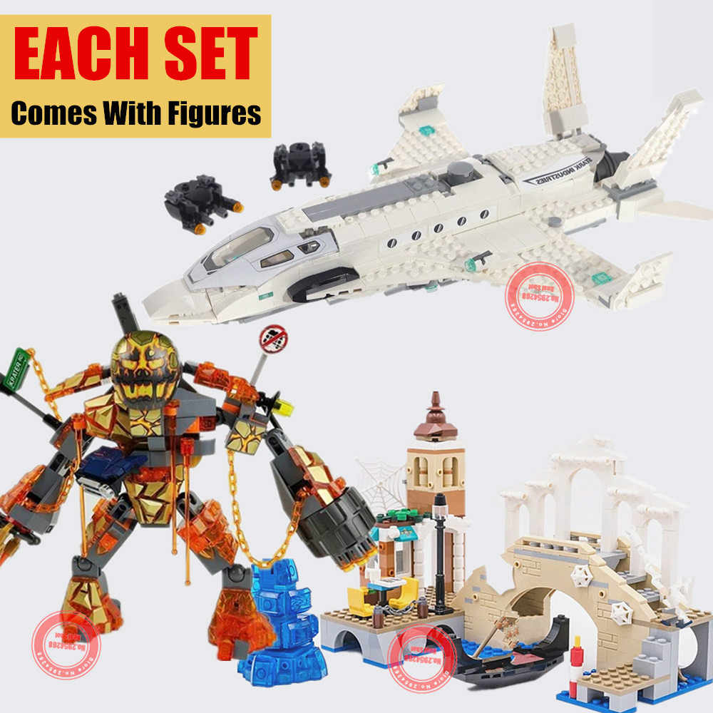 2019 New Super Heroes Spiderman Figures Battle Far From Home Fit Legoings Marvel Avengers Building Blocks Bricks Toy Birthday