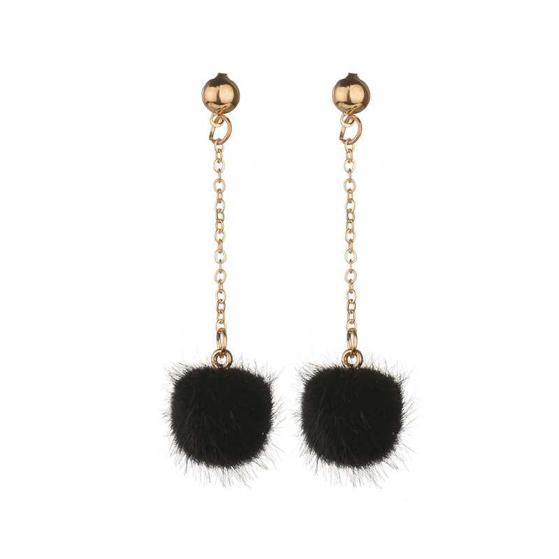 VOHE Cute Faux Fur Ball Dangle Drop Earrings for Women Long Oorbellen Pom Pom Pendant Earing Fashion Jewelry