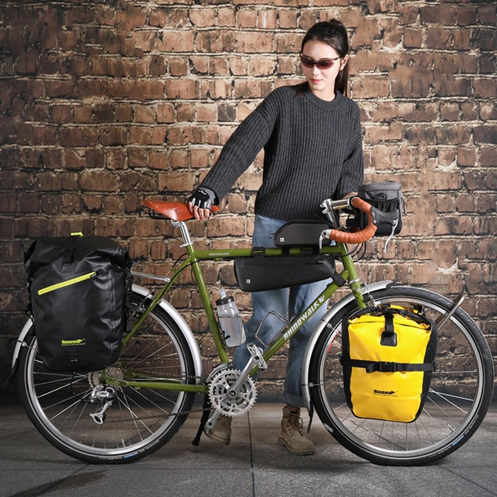 Купить с кэшбэком Rhinowalk 20L Bicycle Pannier Bag Waterproof Portable Bike Rear Rack Tail Seat Trunk Pack Cycling MTB Bag Bike Accessories