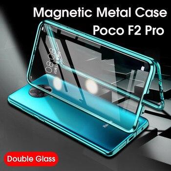 Перейти на Алиэкспресс и купить Магнитный металлический чехол на Покофон Ф2 про чехлы для pocophone f2 pro закаленного стекла 360 чехол для Xiaomi pocophone f2 poco f2 pro защита для камеры чехол ...