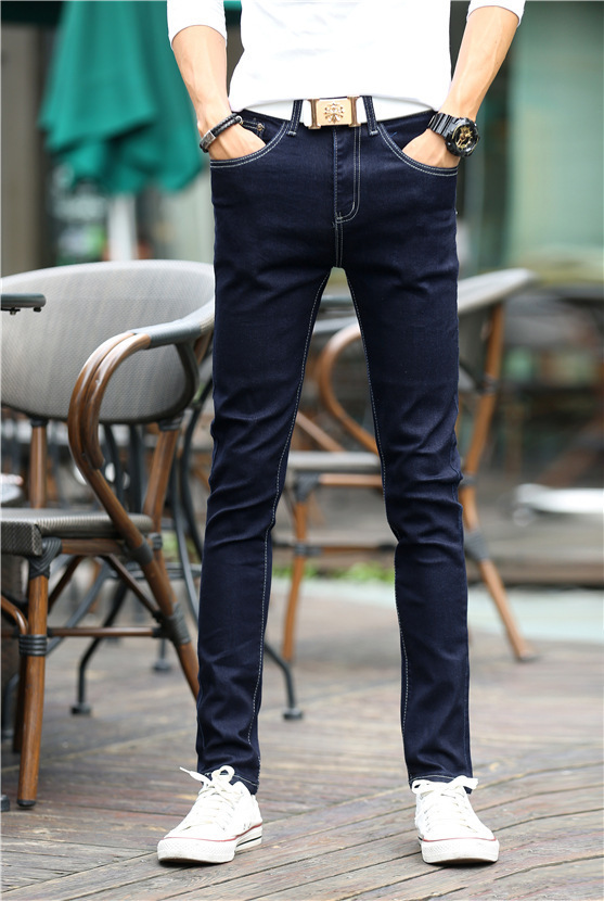 Autumn New Style MEN'S Jeans Slim Fit Skinny Pants Men's Korean-style Youth Solid Color Long Pants Elasticity Men's Trousers