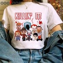 It Movie Harajuku Horror T Shirt Women It Clowns Ullzang Funny Cartoon T-shirt Halloween Pennywise T