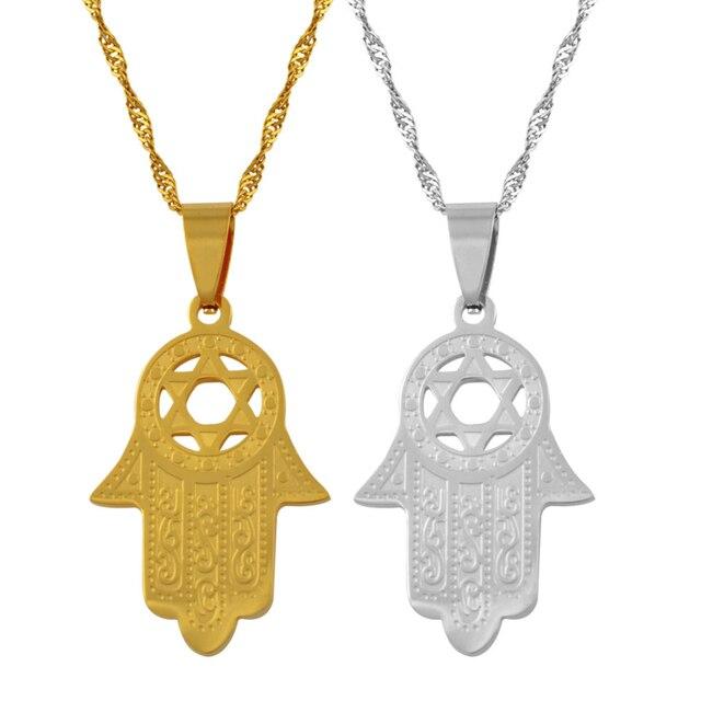 Anniyo heksagram/Hamsa ręczny wisiorek naszyjnik, Magen David naszyjnik złoty kolor biżuteria Islam Arab, żydowska gwiazda, dłoń w kształcie #006721