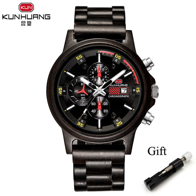 Wooden Mens Watches Top Brand Luxury Quartz Watches Men Fashion Luminous Hands Date Stop Watch Anniversary Gifts for Husband | Fotoflaco.net