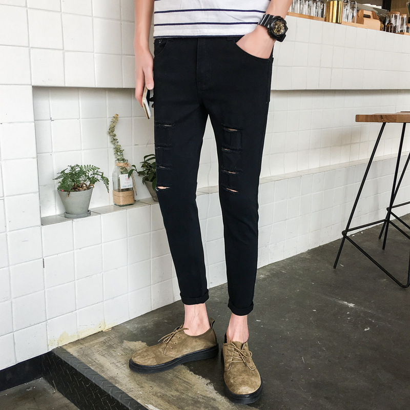 Character Broken Thin Eight With Holes Jeans Men's Teenager Korean-style Skinny Slim Fit Capri Fashion Beggar Fashion Wholesale