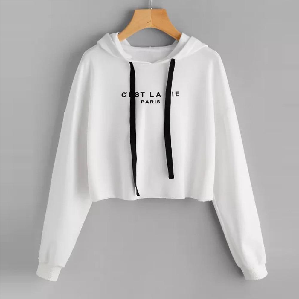 Womens sweatshirt hoodies Autumn Spring short Letters Printed  Long Sleeve Hooded Jumper Sweatshirt Pullover Tops Blouse moletom