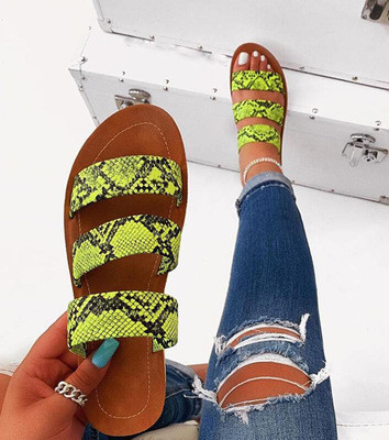 2020 new women slippers fashion wild snake double layer sandals flat bottom ladies beach shoes outdoor travel  flip flop