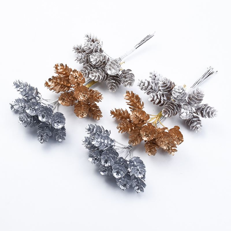 10pcs Gold Silver Christmas Pine Cone Artificial Plants Diy Gifts Candy Box Wedding Decorative Flowers Home Decor Accessories