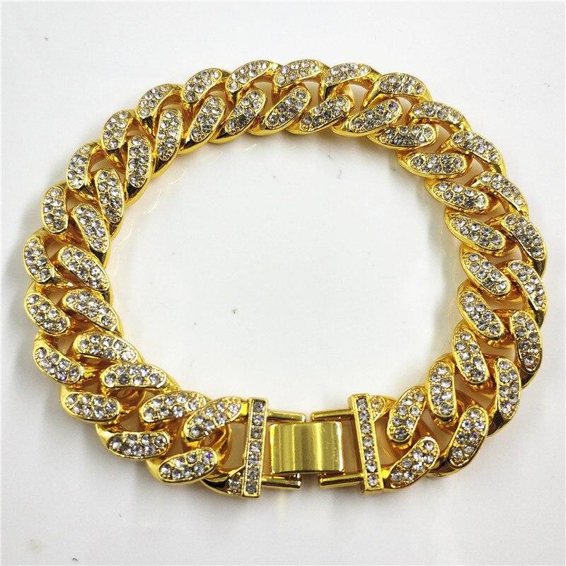 Hip Hop 12mm Wide Full Of Rhinestones Hip Hop Bracelet Rap Iced Out Men's Charm Cuban Chain Jewelry Bracelet