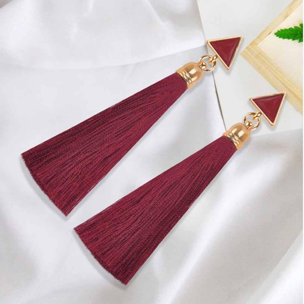 Cristallo di boemia Orecchini Lunghi Della Nappa Nero Blu Rosso Rosa Tessuto di Seta di Goccia Ciondola Gli Orecchini Dei Monili Delle Donne Per Il Partito Spiaggia