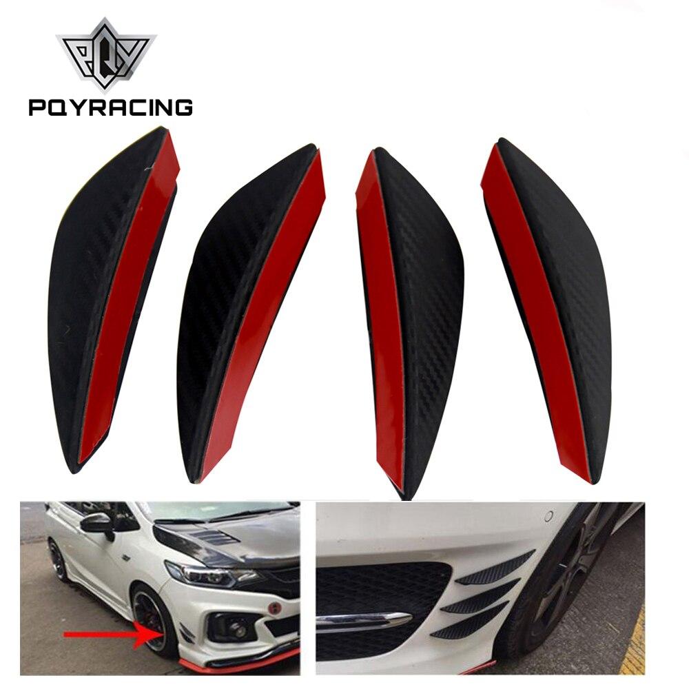 4Pcs/set Black Carbon Fiber Car Spoiler Canards Fit Front Bumper Lip Splitter Fin Air Knife Auto Body Kit Valence Chin Accessory