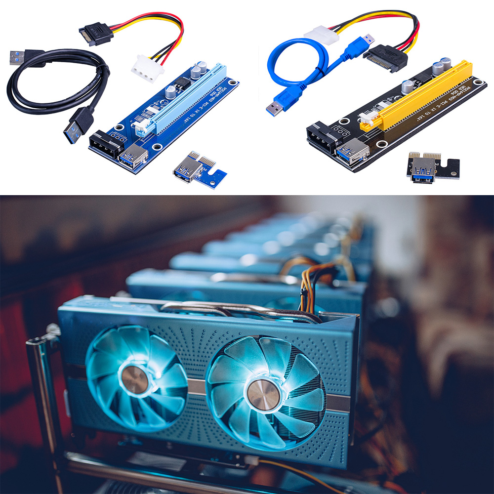 006 PCI-E Riser Card USB 3.0 Riser Express 1X 4x 8x 16x Extender Adapter SATA 15pin to 4pin Power Cable for BTC Mining Miner-1