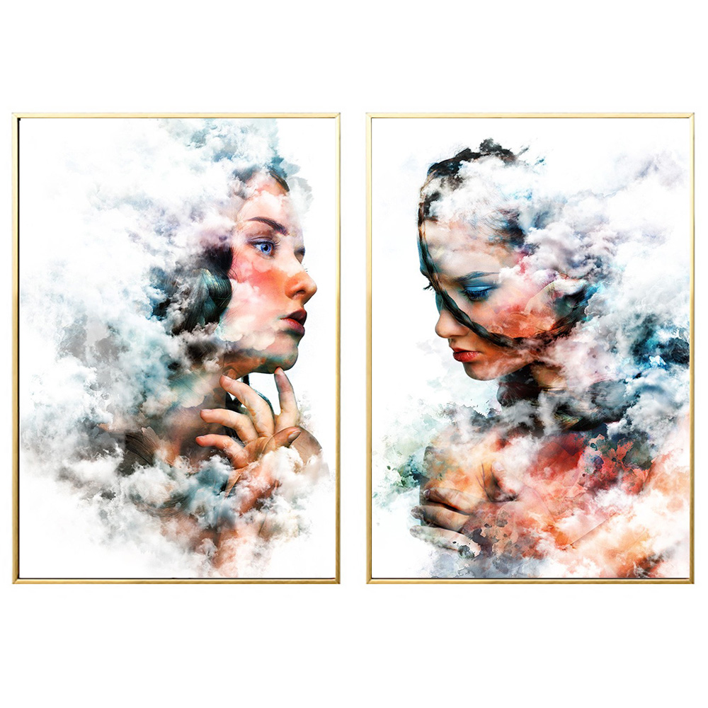 Abstract smoke beauty poster Girl Painting Canvas Wall Art Posters Print Pictures For Bedroom Livingroom Home Decoration drop s