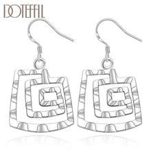 Женские серьги подвески из серебра 925 пробы с квадратной нитью