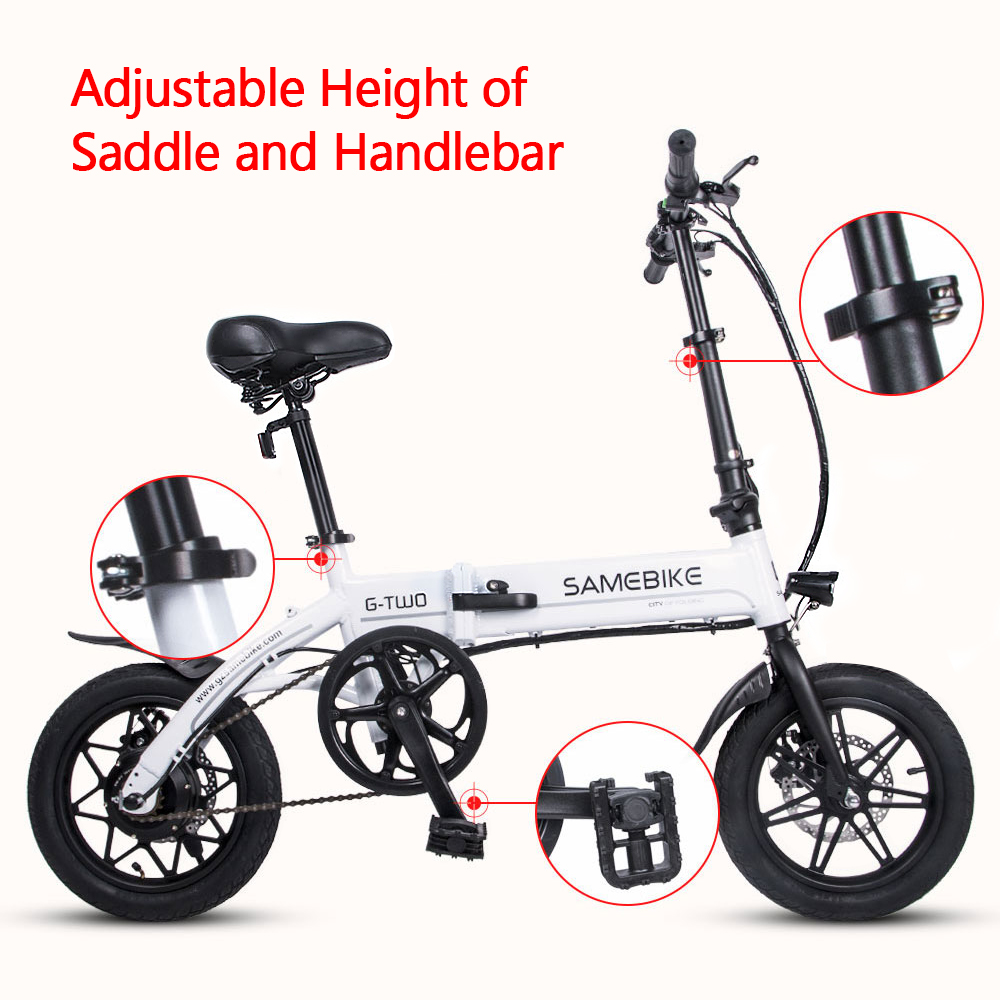 Samebike 20 Inch Folding Electric Bike E-Bike Scooter 350W 48V 10.4AH Motor Conjoined Rim Power Assist Electric Bicycle New