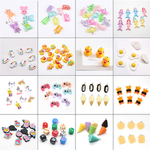 10pcs Mixed Candy Bear Duck Animal Food Resin Charms Cute Noodles Palette Food Pendants For Earring Phone Chain DIY Accessory