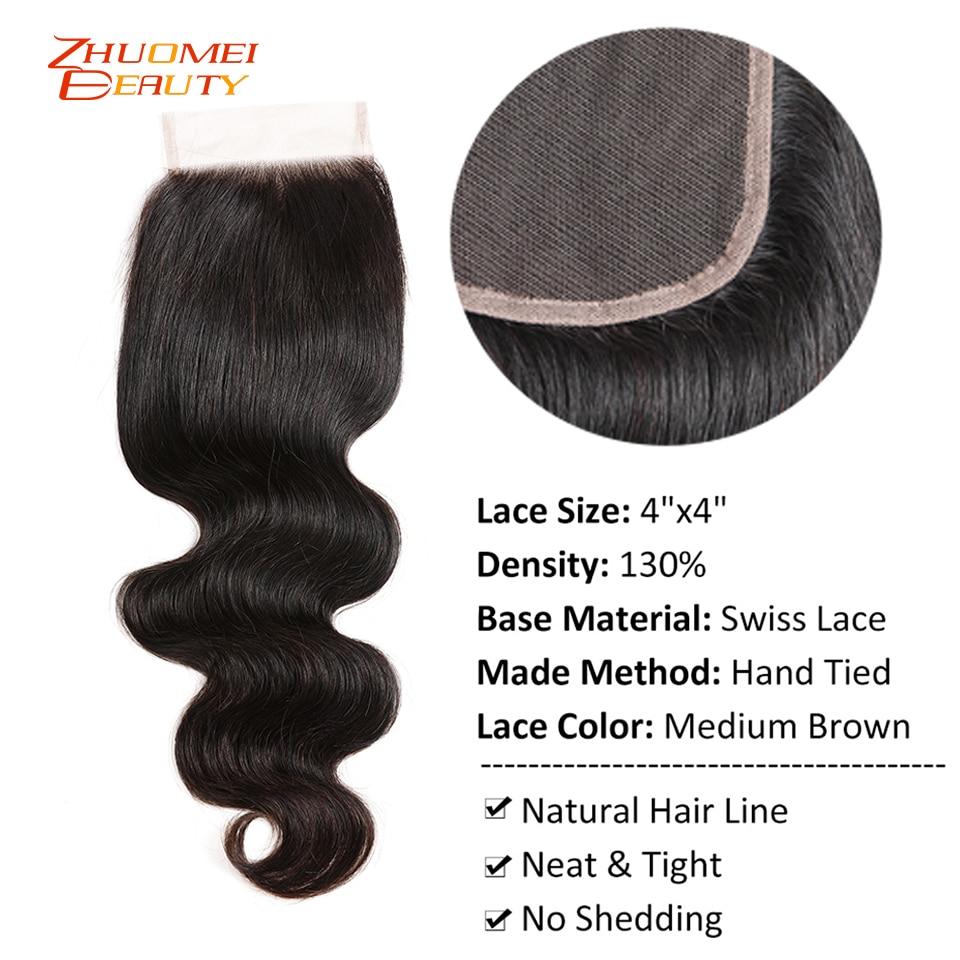 Brazilian Hair Body Wave 3 Bundles With Closure Human Hair Bundles With Closure 4*4Lace Closure Zhuomei Beauty Remy Human Hair