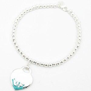Классическая Леди S925 стерлингового серебра в форме сердца синий розовый всплеск 4 мм круглые бусины бисерный браслет ювелирные изделия Пар...