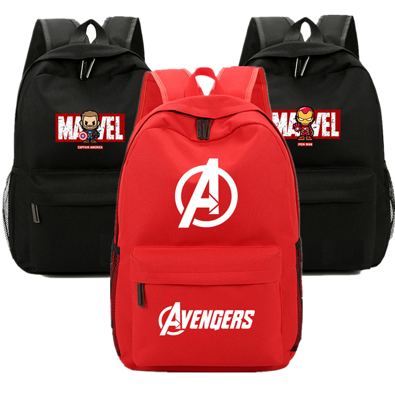 Avengers MARVEL Captain America Iron Man Backpack Bag Zipper Casual School Students Book Bag Boys Girls Fans Black Cartoon