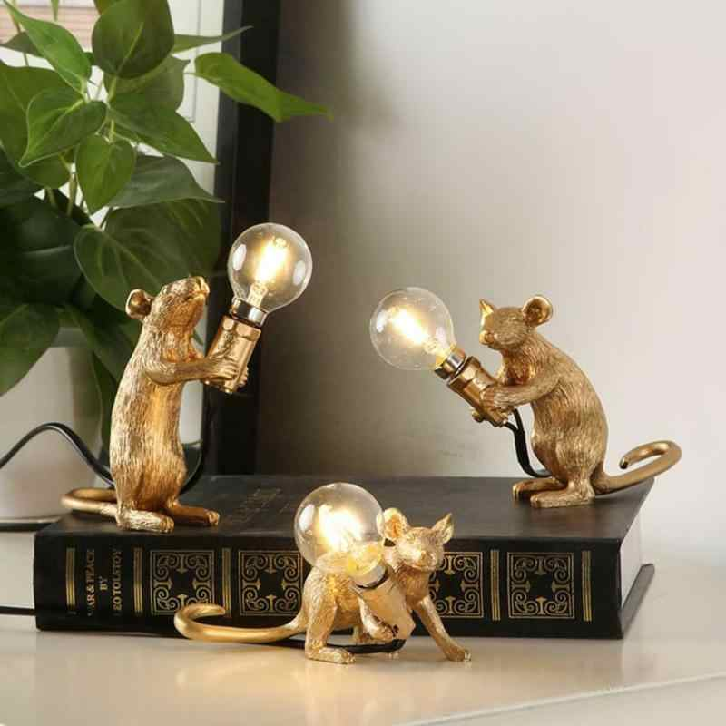 Dreamburgh Nordic Hars Dier Rat Muis Tafellamp Kleine Mini Mouse Leuke Led Night Lights Home Decor Desk Lichten Nachtkastje lamp