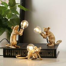 Lámpara de mesa para ratón con diseño de animales de resina de dreamdragon, lámpara pequeña Mini con diseño de ratón, bonitas luces LED nocturnas para el hogar y el Escritorio de decoración, lámpara de mesita de noche