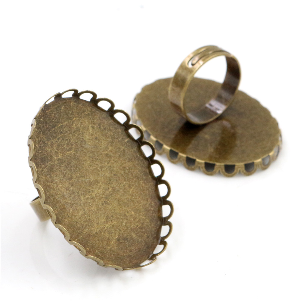 30x40mm 5pcs Bronze Color Plated Brass Oval Adjustable Ring Settings Blank/Base,Fit 30x40mm Glass Cabochons K6-17