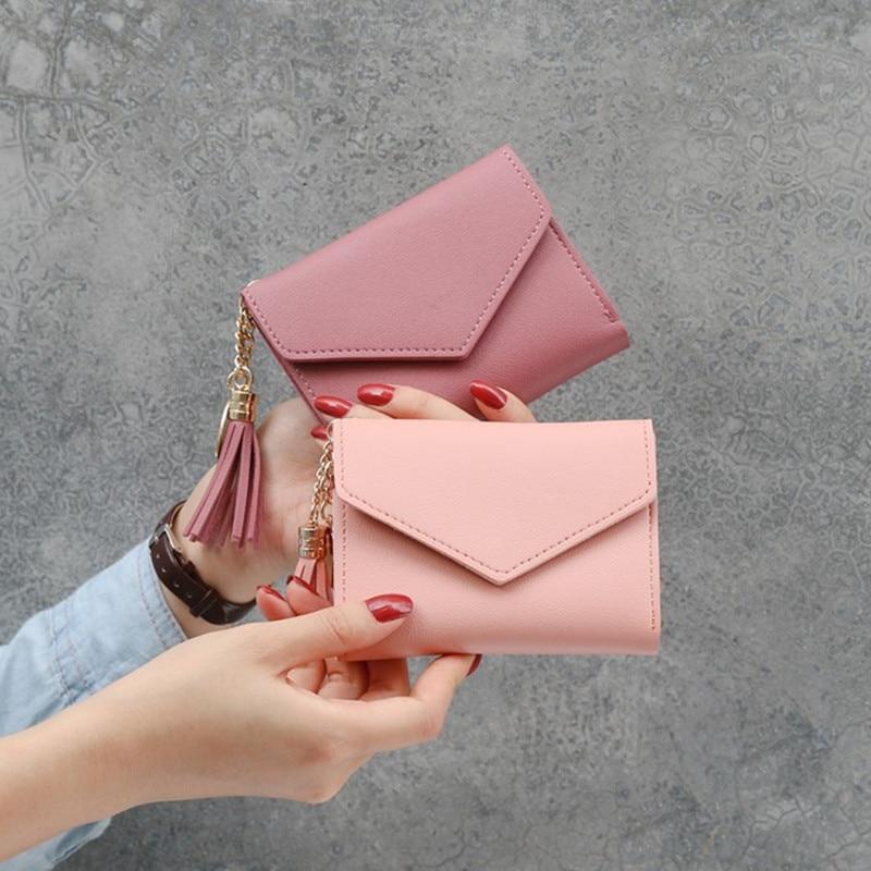 Wholesale Price!! Women Simple Short Wallet Tassel Coin Purse Card Holders Multi-card Position Female Wallet Portefeuille Femme