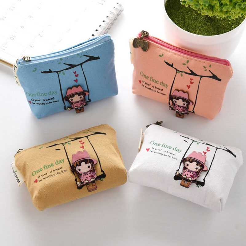 1 Pcs Kawaii Cartoon Swing Girl Canvas Mini Document Bag Coins Purse Keys Holder Clutch Bags For Women