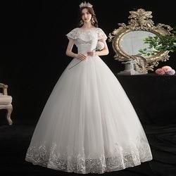 Gryffon Wedding Dress Luxury Short Sleeve O-neck Ball Gown Princess Lace Embroidery Plus Size Wedding Dresses Vestido De Noiva