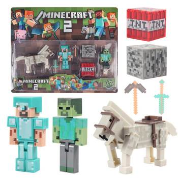 цена на New Minecrafted Model Minifigures Puzzle Assembled Building Blocks Children Steve Diamond Sword Boy Toy gift for children adults