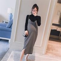 2PCS/Set Black Knitted Maternity Bottoming Shirts + Sling Plaid Dress Autumn Korean Fashion For Pregnant Women Pregnancy Vestido