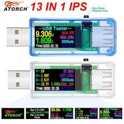 Цифровой вольтметр, измеритель мощности, напряжения 12/13-в-1 с работой от USB, зарядка от портативного зарядного устройства