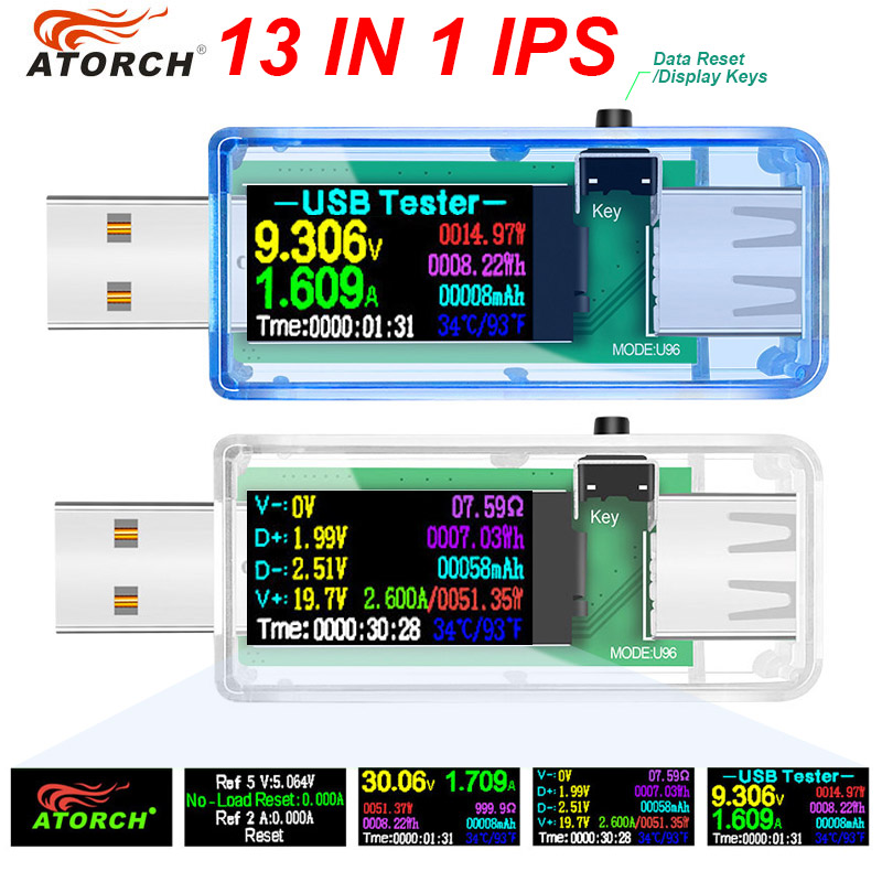 12/13 in 1 usb testeris nuolatinės srovės matuoklis skaitmeninis voltmetras voltimetro voltmetras galios bankas vatmetro įtampos testeris gydytojo detektorius