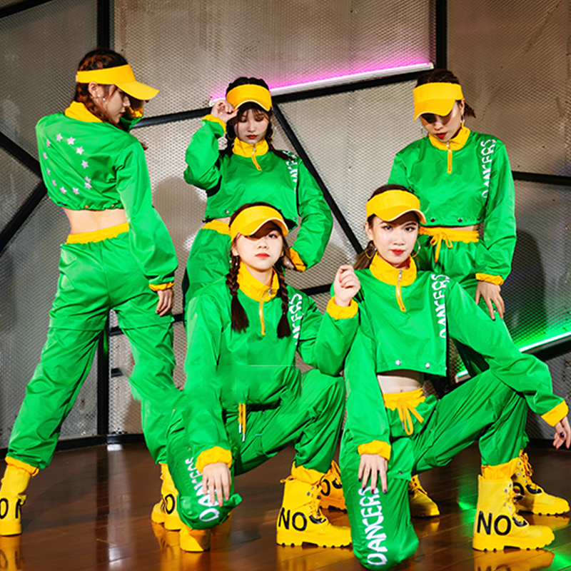 Jazz Costumes Adult Hip Hop Street Dance Clothing Women Green Performance Wear Ds Dancer Nightclub Singer Stage Outfit DT1728