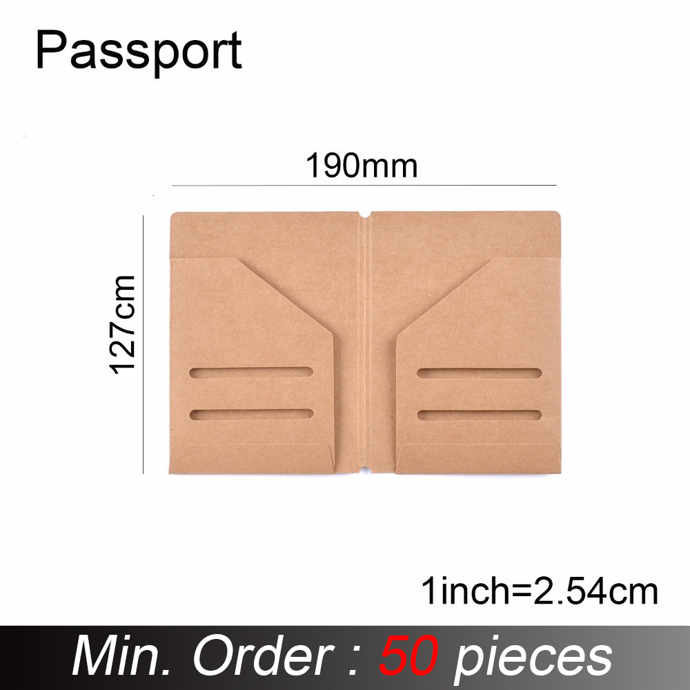 50 Pieces / Lot Passport Size 13x9.5cm Kraft Paper File Holder For Travel Journal Notebook Accessory Vintage Card Pocket