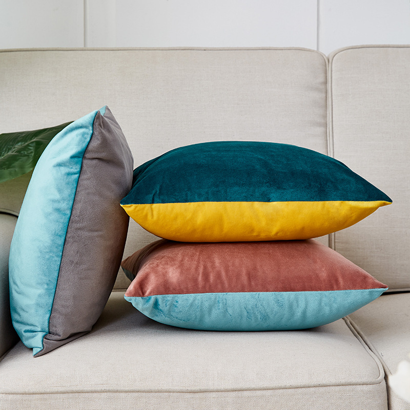 Solid Velvet Waist Cushion Cover Home New Year Decorative splice Throw Pillows 40*40/45*45/<font><b>50</b></font>*<font><b>50</b></font>/<font><b>30</b></font>*<font><b>50</b></font>/60*60cm <font><b>funda</b></font> <font><b>cojin</b></font> image