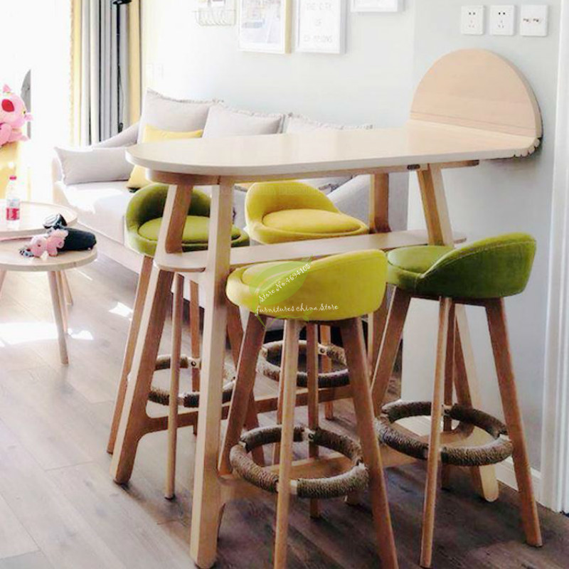 B High /short Bar Stool Solid Wood Bar Modern Minimalist Bar Chair High Bar Stool Front Back Stool Formal Dinning Chairs
