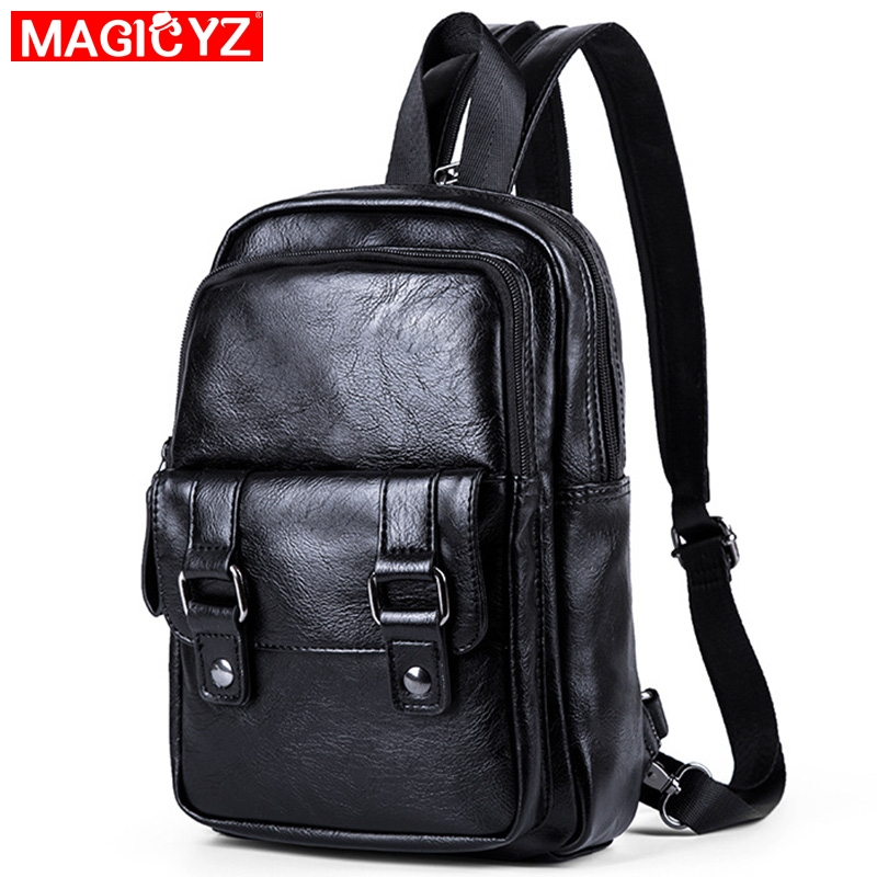 2020 New Men's Backpack High Quality PU Leather Chest Bag Black Small Backpack Fashion Pockets Men Travel Backpack Bag Male Bag