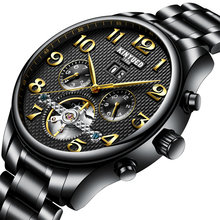 KINYUEDTop брендовые Роскошные мужские часы золотого цвета с выемкой автоматические механические бизнес водонепроницаемые часы мужские часы Авто Дата