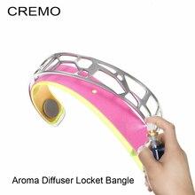 Cremo Giraffe Bangles Fashion Bracelets Aroma Diffuser Locket Cuff Bangle Stainless Steel Random Oil Pads as Gift