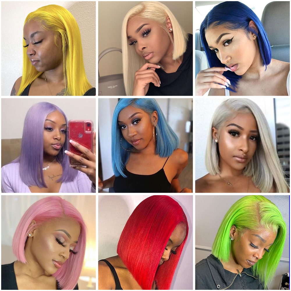Blonde 13x4 Lace Front Short Bob Wigs For Black Women Pink Blue Purple Green Gray 150% Remy Brazilian Straight Human Hair Wigs