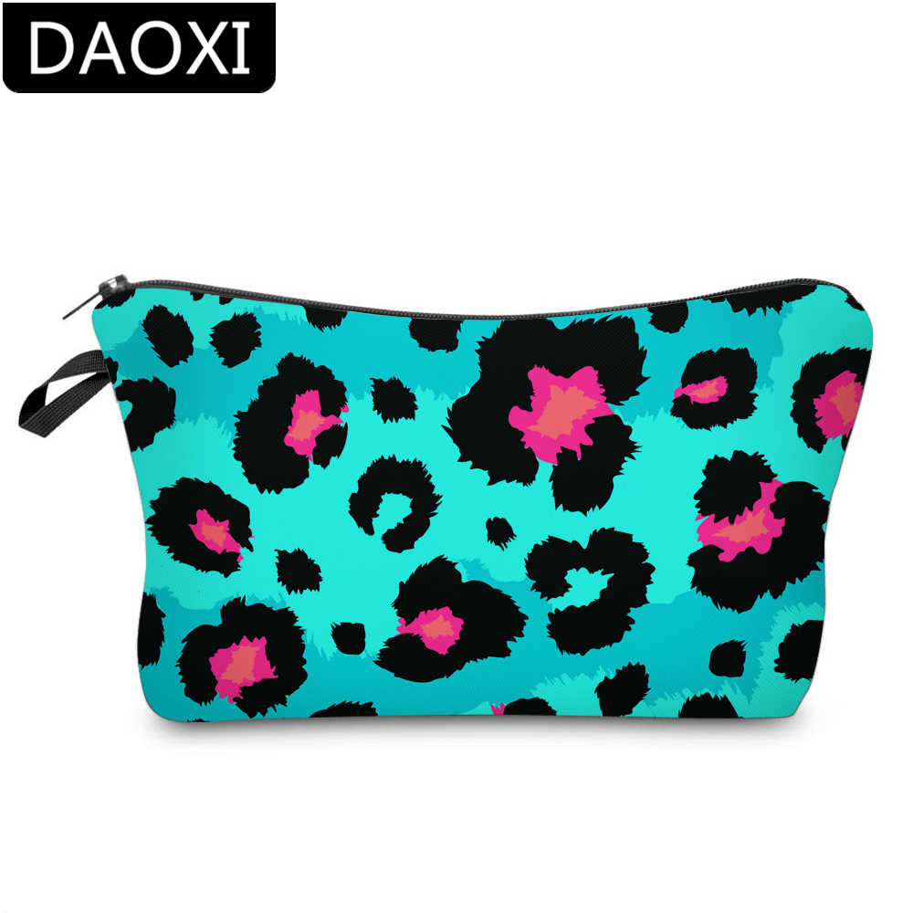 DAOXI 3D Printing Blue Leopard Cosmetic Bags Makeup Bag Waterproof Travel Toiletry Bag DX51488