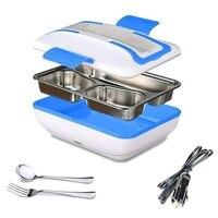 Caixa de almoço  aquecedor de almoço de aquecimento elétrico portátil com recipiente de aço inoxidável removível aquecedor de alimentos e um carregador de carro (bl
